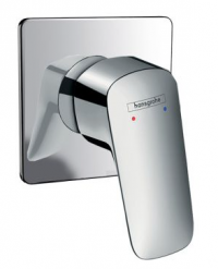 Hansgrohe LOGIS Single Lever Shower/Bath Mixer 100mm Square Backplate Chrome